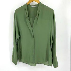 Vince Sage Green Silk Blouse Hidden Button Shirt 8